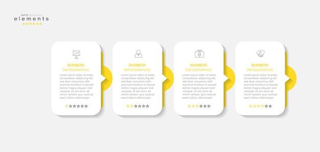 Élément d'infographie avec icônes et 4 options ou étapes