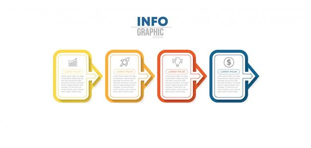 Élément d'infographie avec des icônes et 4 options ou étapes