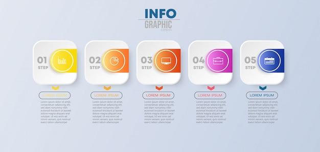 Élément d'infographie avec des icônes et 5 options ou étapes. peut être utilisé pour un processus, une présentation, un diagramme, une structure de flux de travail, un graphique d'informations