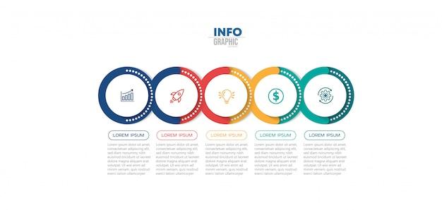 Élément d'infographie avec icônes et 5 options ou étapes.