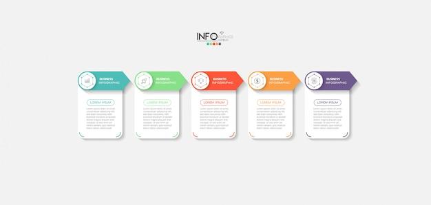 Élément d'infographie avec des icônes et 5 options ou étapes.