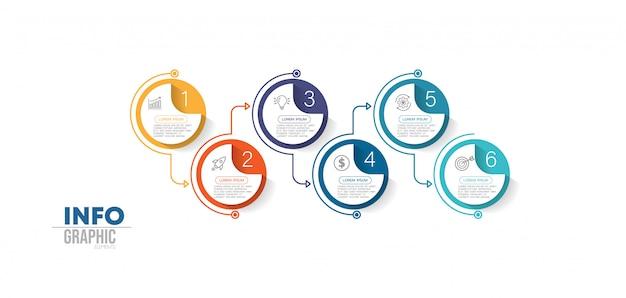 Élément d'infographie avec des icônes et 6 options ou étapes.