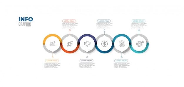 Élément d'infographie avec icônes et 6 options ou étapes.