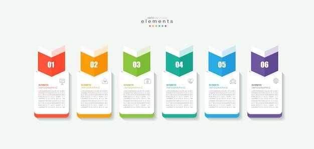 Élément d'infographie avec icônes et 6 options ou étapes