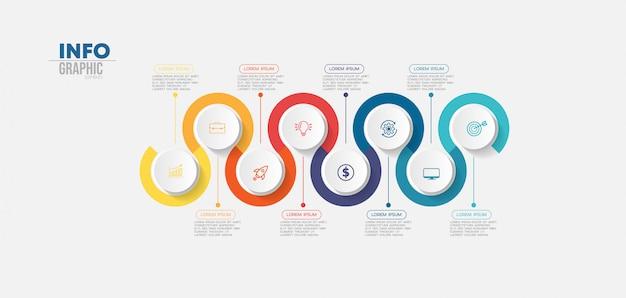 Élément d'infographie avec des icônes et 8 options ou étapes.