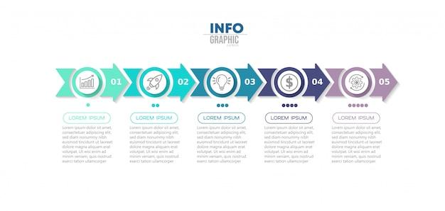 Élément d'infographie avec des icônes et des options ou des étapes.
