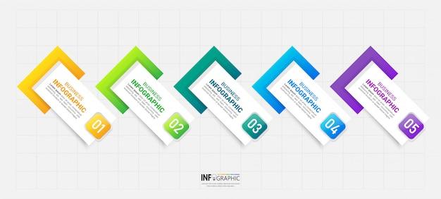 Élément d'infographie moderne 5 étapes.