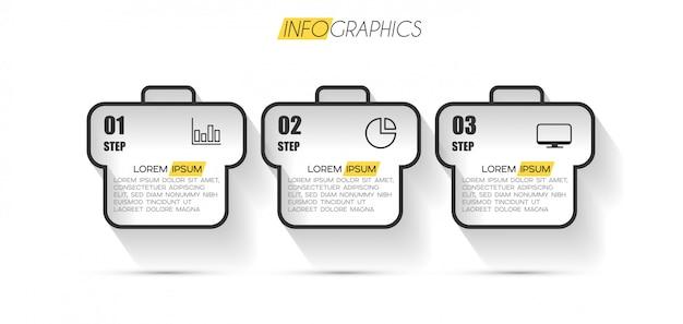 Élément d'infographie avec options ou étapes
