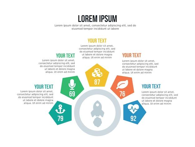 Élément d'infographie pentagonale de cinq étapes et modèle de présentation