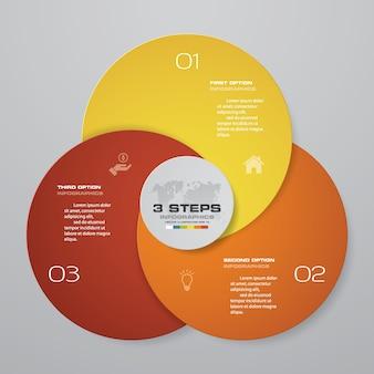 Élément infographique à 3 étapes pour la présentation.