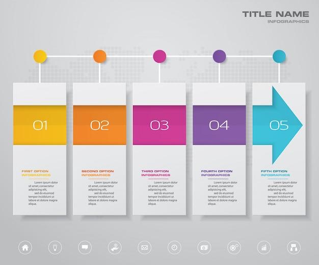Élément infographique de 5 étapes arrow timeline chart.