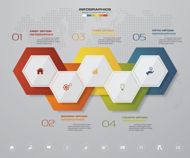 Élément infographique à 5 étapes pour la présentation.