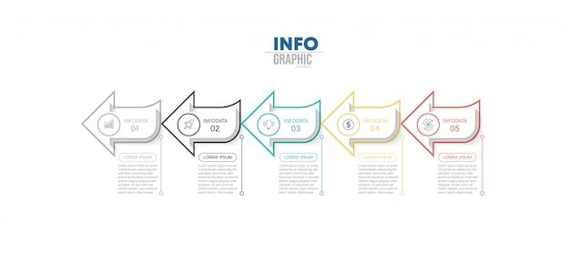 Élément infographique avec 5 options ou étapes. peut être utilisé pour un processus, une présentation, un diagramme, une structure de flux de travail, un graphique d'informations, une conception web.