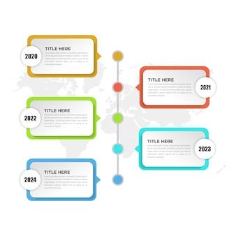 Élément infographique chronologique en cinq points pour la stratégie d'entreprise