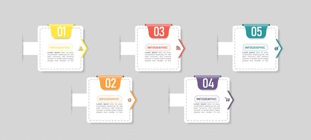Élément infographique d'entreprise avec 5 options.