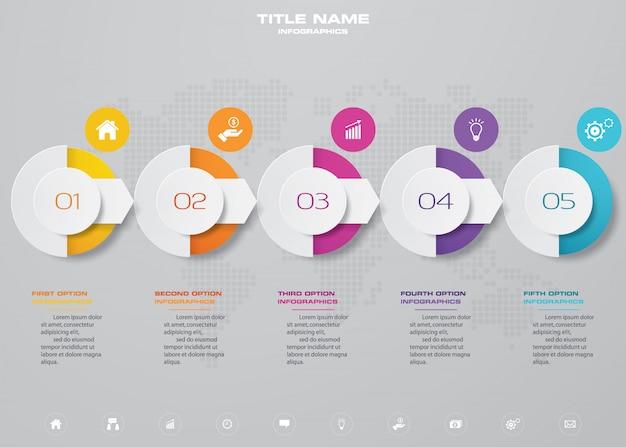 Élément infographique de graphique chronologique de 5 étapes.