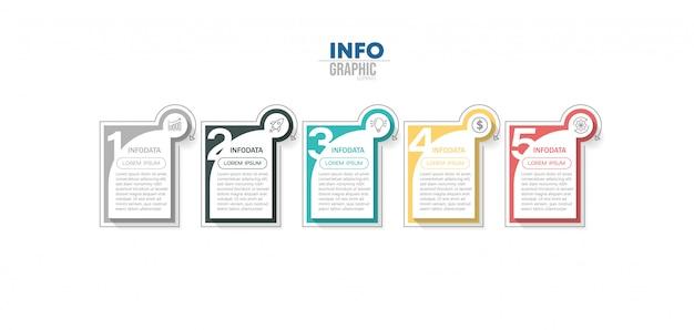 Élément infographique avec des icônes et 5 options ou étapes.