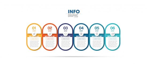 Élément infographique avec icônes et 6 options ou étapes. peut être utilisé pour le processus, la présentation, le diagramme, la disposition du flux de travail, le graphique d'informations, la conception web.