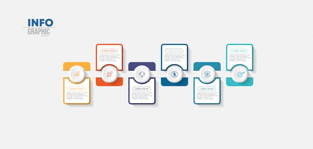 Élément infographique avec icônes et 6 options ou étapes.