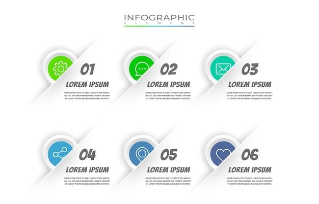 Élément infographique plat avec jeu d'icônes