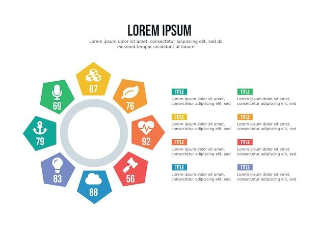 Élément infographique de sphère pentagonale de huit étapes et modèle de présentation