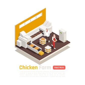 Élément isométrique de production d'élevage de volailles en couches avec des œufs de poule sur une bannière de système d'emballage à bande transporteuse automatisé