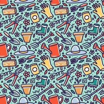 Élément de jardin doodle nature seamless pattern