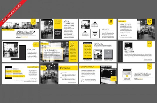 Élément jaune pour infographie diapositive sur fond.