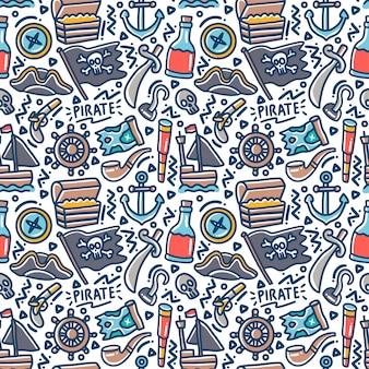 Élément de jeu pirate doodle motif transparent coloré