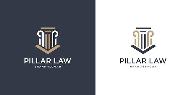 Élément de logo de loi avec un style unique vecteur premium partie 3