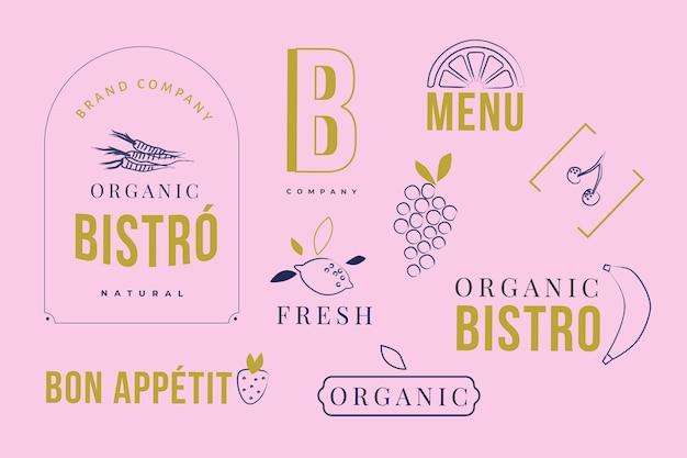 Élément de logo minimal défini en deux couleurs