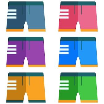 Élément de maillot de bain masculin coloré élément actif de jeu d'icônes