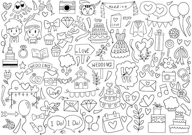 Élément de mariage doodles parti dessiné à la main