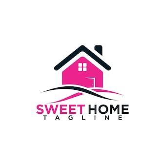 Élément de modèle de conception de logo de propriété à la maison