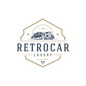 Élément de modèle de logo de voiture classique style vintage