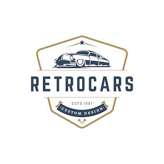 Élément de modèle de logo de voiture hot rod style vintage