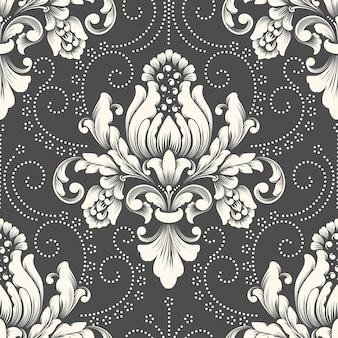 Élément de modèle sans couture damassé de vecteur. ornement damassé à l'ancienne de luxe classique, texture transparente victorienne royale pour papiers peints, textile, emballage.