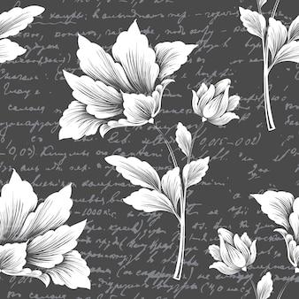 Élément de modèle sans couture fleur de vecteur avec texte ancien.