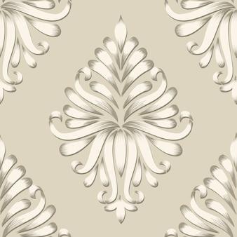 Élément de motif sans soudure vector damask. ornement classique en damas à l'ancienne, texture victorienne sans soudure pour papiers peints, textile, emballage. modèle baroque floral exquis.