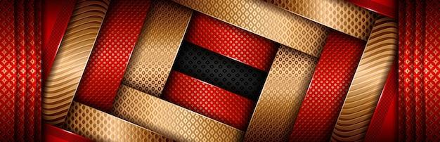 Élément or de couleur brillante avec effet rouge foncé sur le design noir