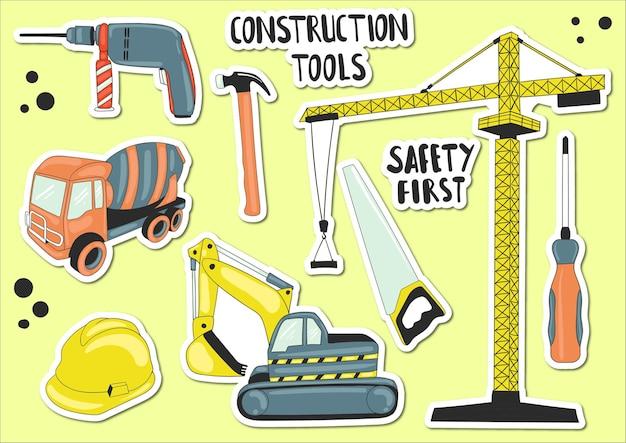 Élément d'outils de construction dessinés à la main coloré