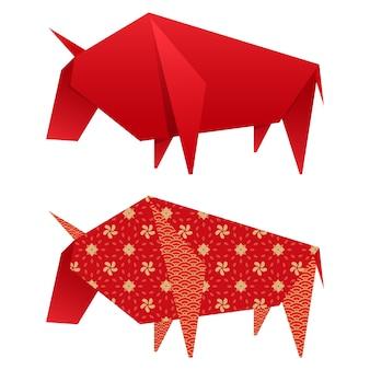 Élément ox en papier origami en deux options.