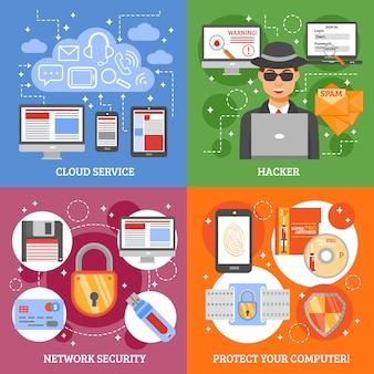 Élément et personnage du concept de conception de sécurité réseau