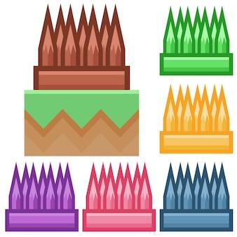 Élément de piège enrichi de bois coloré icône élément de jeu d'icônes