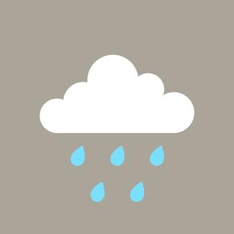 Élément de pluie, vecteur de clipart météo mignon sur fond gris