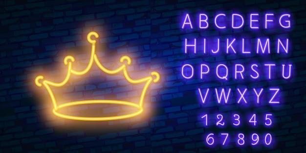 Élément de publicité lumineuse nuit couronne jaune