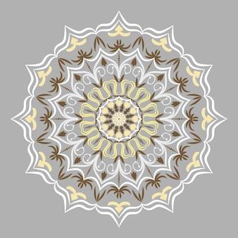 Élément rond décoratif ethnique, motifs de dentelle sur fond gris.