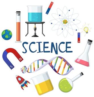 Élément de science et de chimiste sur fond blanc