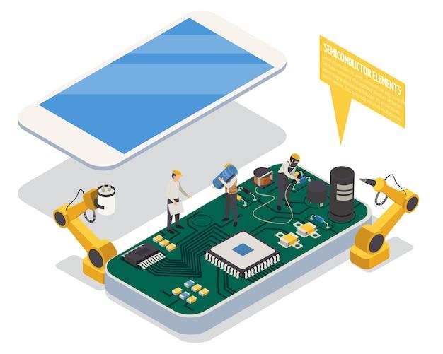 Élément semi-conducteur dans le concept de smartphone avec isométrique matériel