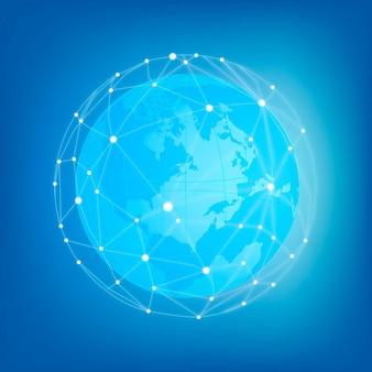 Élément de sphère de réseau mondial brillant